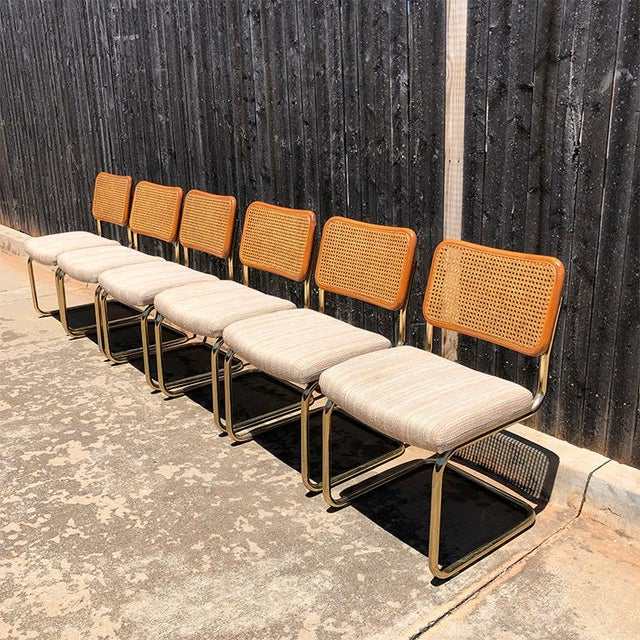 Chromcraft 1980s Vintage Cantilever Cane Marcel Breuer Style Tubular Dining Chairs Upholstered Seats Set of 6 For Sale - Image 4 of 13