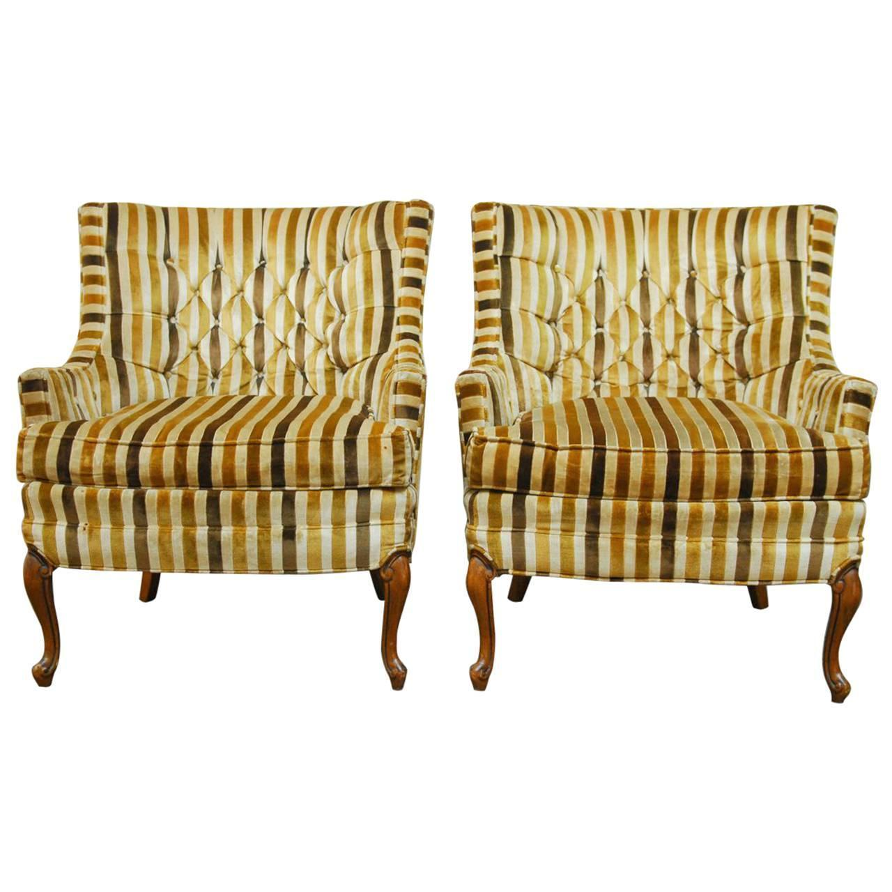 Superbe Silver Craft Velvet Tufted Club Chairs   Pair