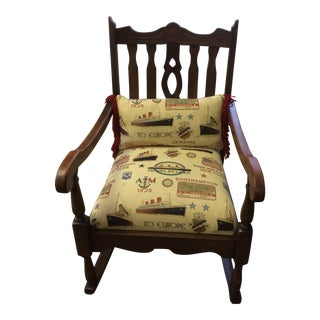 1800's Antique Brown and Cream Rocker Chair For Sale