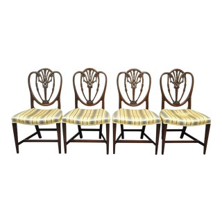 Set 4 Antique Hepplewhite Shield Back Drape Carved Mahogany Dining Room Chairs For Sale