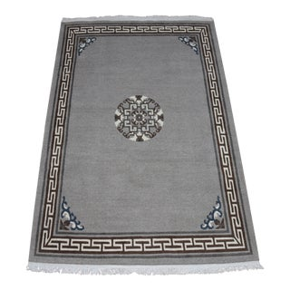 Tibetan Handwoven Traditional Gray Area Rug - 4′ × 6′