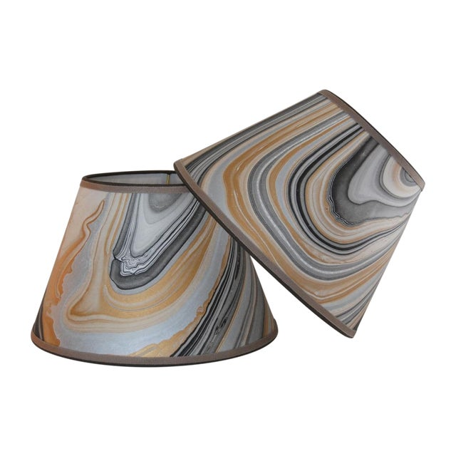 Gold, Grey & Black Marble Lampshades - Pair - Image 1 of 5