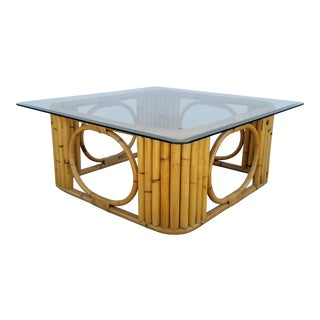 1970s Vintage Bamboo Squared Coffee Table For Sale