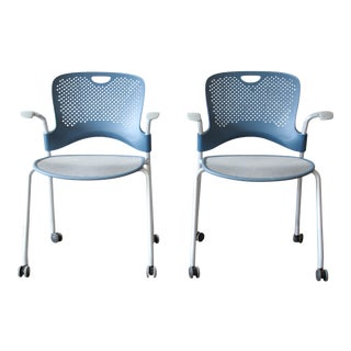 Herman Miller Rolling Office Armchairs, Pair For Sale