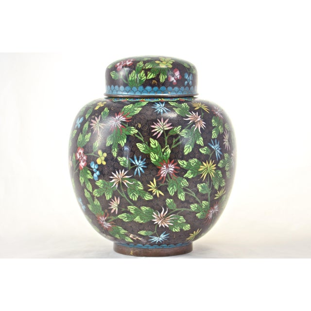 Chinoiserie Antique Floral Cloisonné Longevity Jar For Sale - Image 3 of 9