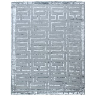 Exquisite Rugs Vera Hand knotted Wool/Viscose Aqua Rug-10'x14' For Sale