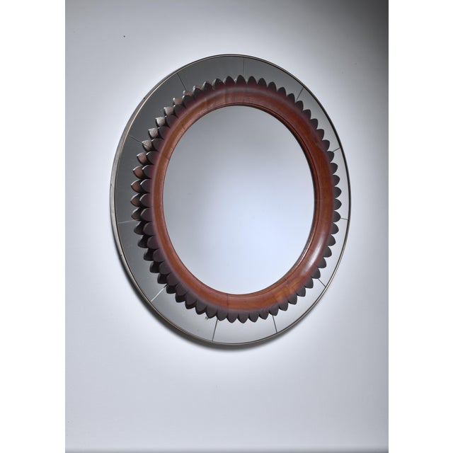 Italian Large (104 CM/41 Inch) Italian Wood and Brass Mirror, 1940s For Sale - Image 3 of 3