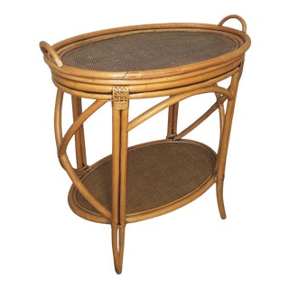 1980s Boho Chic Bamboo or Rattan Tray Top Oval.Table For Sale