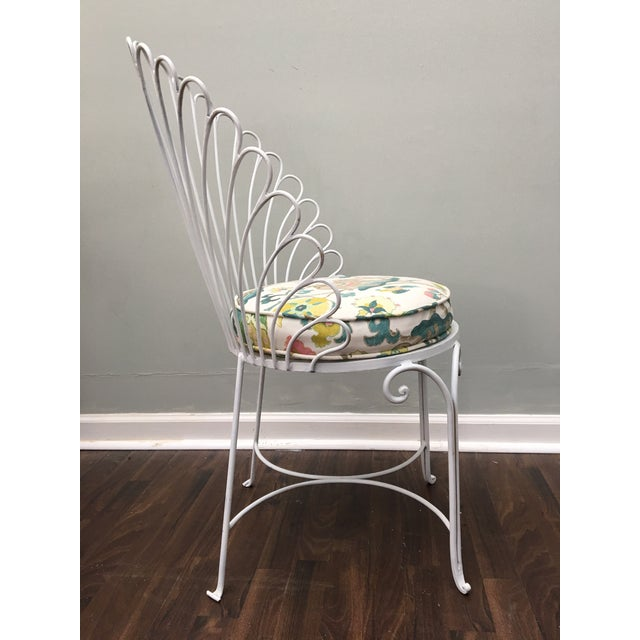 Hollywood Regency Shell Back Metal Side Chair - Image 6 of 8