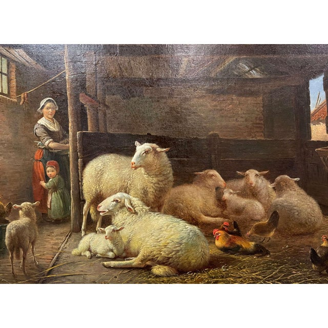 19th Century Dutch Sheep Painting in Carved Gilt Frame Signed Frans Lebret For Sale - Image 4 of 13