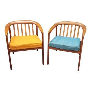 1950s Vintage Folke Ohlsson Dux Teak Arm Chairs- A Pair For Sale
