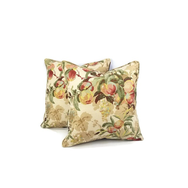 """Rustic Brunschwig & Fils Peach Tree in Beige and Blue Linen Print Pillow Cover - 20"""" X 20"""" For Sale - Image 3 of 7"""