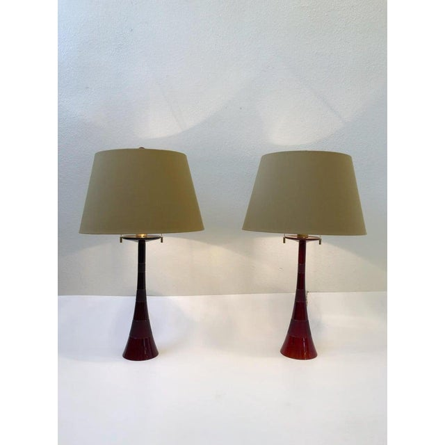 Metal Italian Ruby Red Murano Glass and Brass Table Lamps by Donghia - a Pair For Sale - Image 7 of 13