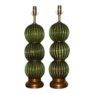 Vintage Murano Glass Stacked Ball Table Lamps Bubbles Green Gold For Sale