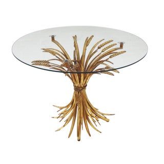 Gilt Hollywood Regency Sheaf of Wheat End Table