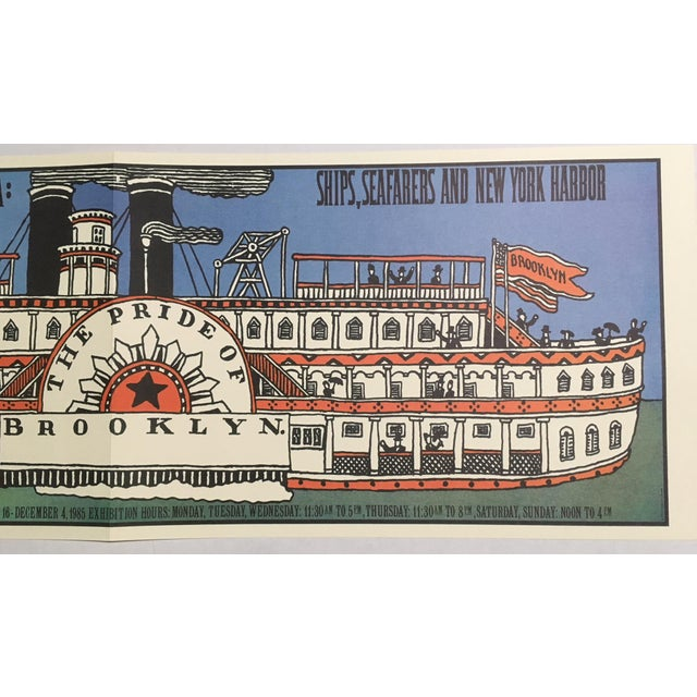 """Mid-Century Modern 1980s Mid-Century Modern Print, """"Ships, Seafarers, & New York Harbor"""" by Seymour Chwast For Sale - Image 3 of 4"""
