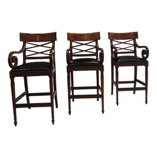 Baker Furniture Black Embossed Leather Bar Stools-Set of 3 For Sale