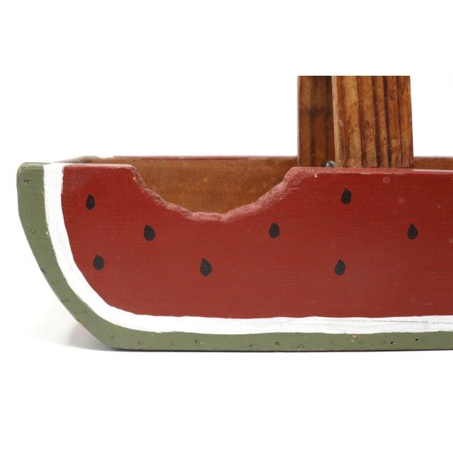 Cottage Vintage Handmade Wood Watermelon Slice Basket For Sale - Image 3 of 10
