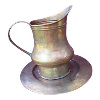 Vintage Hammered Copper Pitcher and Plate For Sale