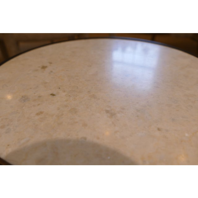 Contemporary Bunny Williams Wrought Iron and Marble Drink Table For Sale - Image 3 of 5