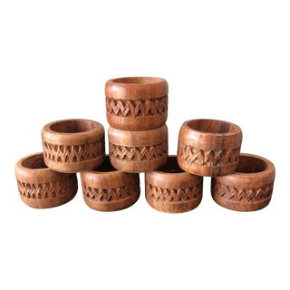 1970s Vintage Wooden Napkin Rings - Set of 8 For Sale