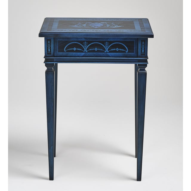 Blue Italian Marquetry Accent Table For Sale - Image 8 of 8