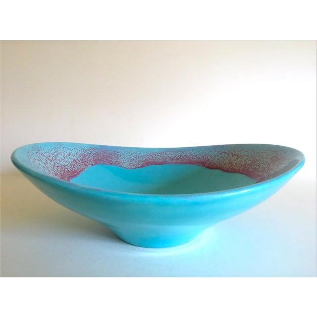 Vintage Mid Century Modern Studio Pottery Aqua Blue Drip Glaze Oval Ellipse Ceramic Pedestal Bowl For Sale - Image 13 of 13