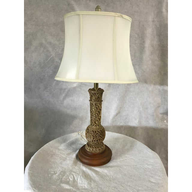 Wood Chinese Carved Soapstone Lamp For Sale - Image 7 of 7