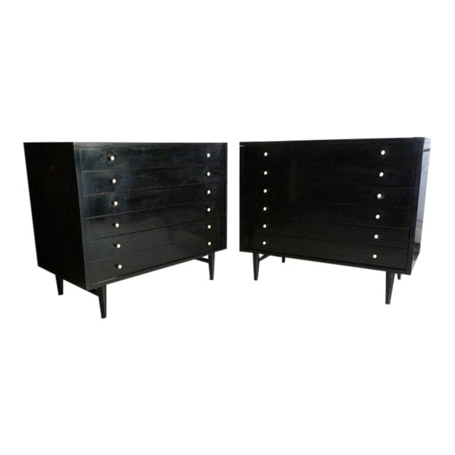 American by Martinsville Black Chests - A Pair - Image 1 of 5