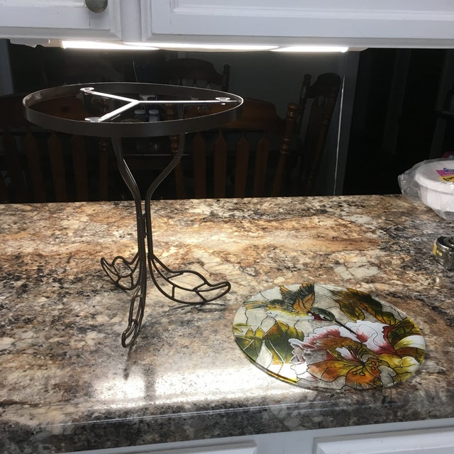 Art Glass Hummingbird Stained Glass Accent Plant Stand Tables For Sale - Image 7 of 11