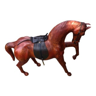 Vintage Decorative Leather Wrapped Horse For Sale