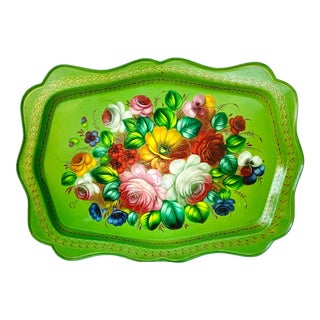 Vintage Floral Tole Metal Tray For Sale