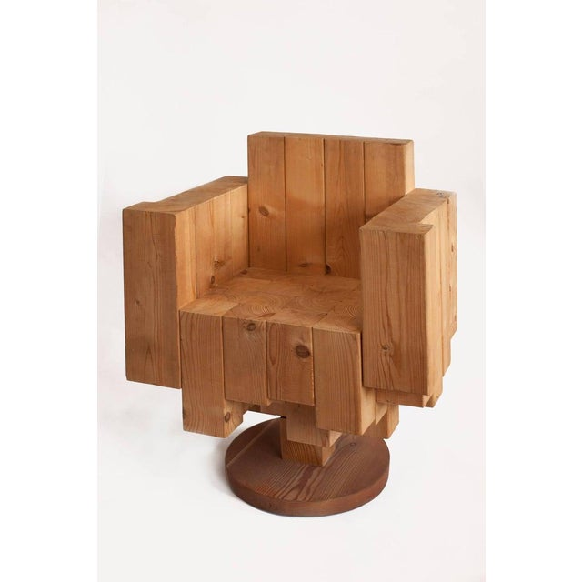 Giorgio Marian Italian Sculptural Cubist Pine Wood Armchair For Sale - Image 4 of 8