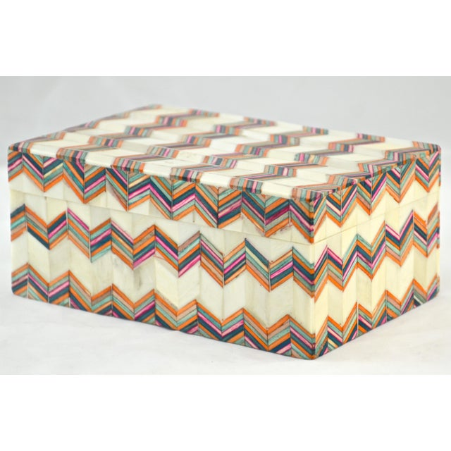 Boho Chic Inlaid Bone Chevron Box For Sale - Image 3 of 8