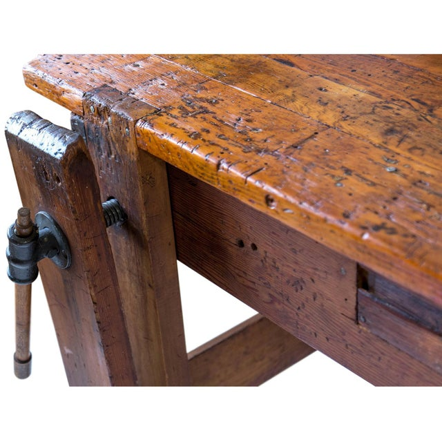 Rustic Carpenter's Workbench Sideboard For Sale In Milwaukee - Image 6 of 13