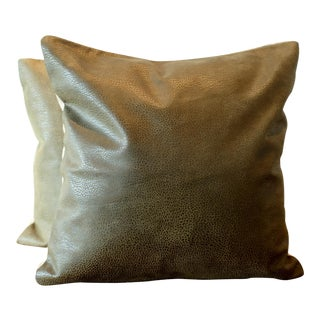 Embossed Italian Leather Pillow Covers - A Pair For Sale