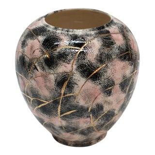 1960's Pink & Black Art Pottery Vase For Sale