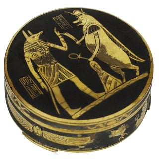 Egyptian Revival Damascene Decorative Case For Sale