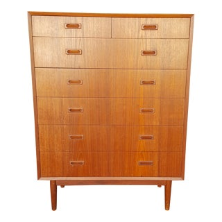 1960s Lyby Danish Teak High Boy Dresser For Sale