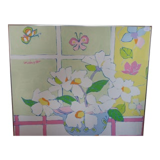 """Large Signed Floral Painting """"Butterfly Bowl"""" in Pastel Colors For Sale"""