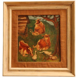 Pastoral Scene Framed Antique Painting with Cows For Sale