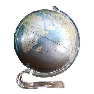 Replogle Lucite Diamond Marquise Pearl Blue World Globe For Sale