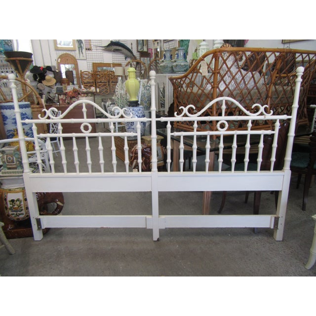 White 1970s Faux Bamboo King Size Headboard For Sale - Image 8 of 8