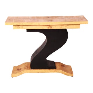 French Art Deco Burled Olive Wood and Black Lacquer Console Table, For Sale