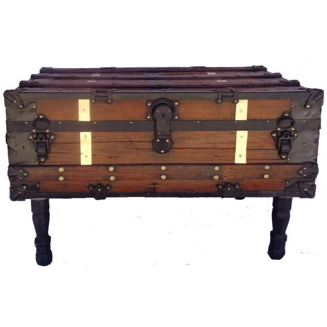 Antique Steamer Trunk/Coffee Table - Image 1 of 4