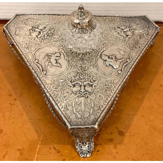 Silver Georgian Sterling and Cut Glass Triangular Inkstand, London, 1777 For Sale - Image 8 of 13