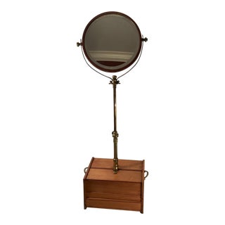 Antique Brass and Wood Telescoping Shaving Stand For Sale