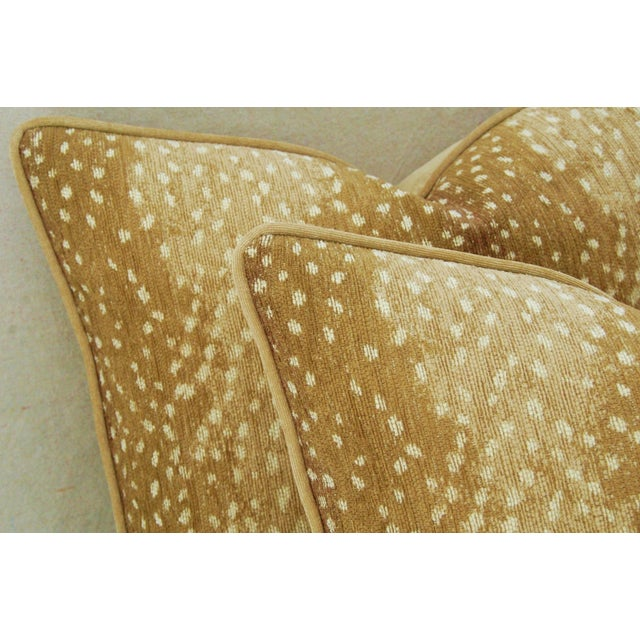 "Early 21st Century Custom-Tailored Antelope Fawn Spot Velvet Feather/Down Pillows 21"" X 18"" - Pair For Sale - Image 5 of 10"