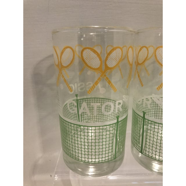 Vintage 1980's Green Yellow and White Alligator Tennis Cocktail Bar Tumbler Glasses - Set of 4 - Image 4 of 7