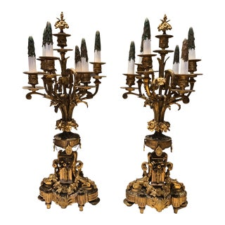 Antique French Neoclassical Style Seven-Light Candelabras - a Pair For Sale